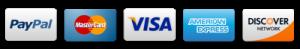 logo of paypal, mastercard, visa, american express & discover